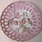 RETICULATED PINK HUMMINGBIRD RIBBON DISH ~GOLD TRIM~JAPAN~LOVELY