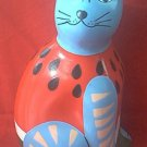 VINTAGE MEXICAN POTTERY FOLK ART LARGE CAT BANK ~HAND PAINTED~SIGNED BY ARTIST~COLORFUL~10 IN
