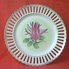 VINTAGE RETICULATED PIERCED RIBBON PLATE ~HAND PAINTED~TULIP~GOLD TRIM~8 in
