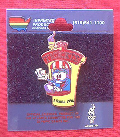 1996 ATLANTA OLYMPICS IZZY TICKET BOOTH LAPEL PIN--ON ORIG. CARD