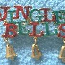 JINGLE BELLS CHRISTMAS HOLIDAY METAL PIN ~RED AND GREEN~TINY BELL CHARMS