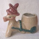 VINTAGE DONKEY PULLING CART TOOTHPICK HOLDER FIGURINE ~JAPAN~1950s~CUTE