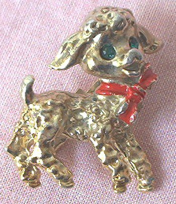 POODLE DOG GOLD TONE METAL PIN BROOCH ~RED BOW~GREEN EYES