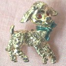 POODLE DOG GOLD TONE METAL PIN BROOCH ~GREEN BOW~RED EYES