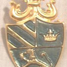 HERALDRY SHIELD GOLD TONE METAL GREEN ENAMEL PIN BROOCH ~LION~CROWN