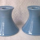 BLUE POTTERY CANDLEHOLDERS (SET OF 2) ~JAPAN STICKER~MODERN~SPOOL SHAPE