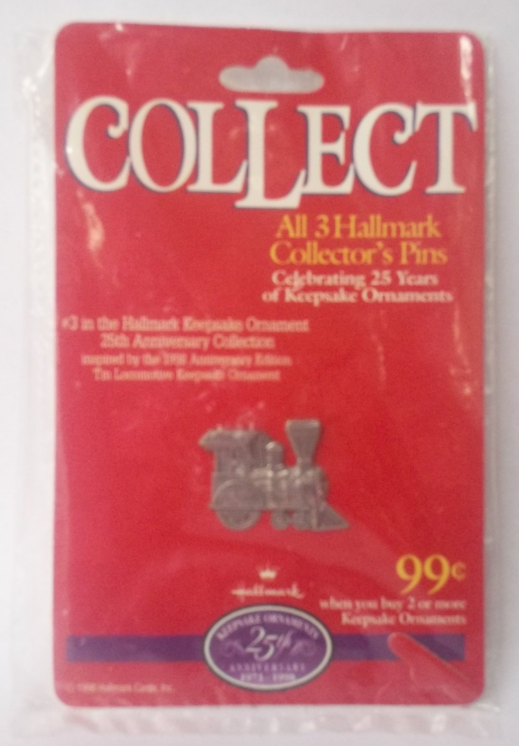 1998 HALLMARK 25TH ANNIVERSARY COLLECTOR PIN~  #3 ~LOCOMOTIVE TRAIN LAPEL PIN