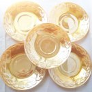 FIRE KING PEACH LUSTERWARE LEAVES SAUCERS ~SET OF 5