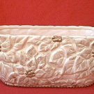 VINTAGE FTD CREAMY BEIGE OBLONG PLANTER ~GOLD POINSETTIAS & TRIM~8 in
