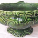 VINTAGE DARK GREEN OVAL SCROLL DECORATED PEDESTAL FOOT PLANTER ~MID CENTURY~U.S.A. MARK