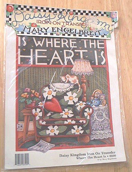 MARY ENGELBREIT DAISY KINGDOM IRON ON TRANSFER ~WHERE THE HEART IS~1990~ITEM 6500