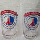 25th ANNIVERSARY EASTERN AIR LINES GLASS SET OF 2 ~EDDIE RICKENBACKER