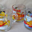 MCDONALD'S GLASS GARFIELD COLLECTOR MUG SET~4 MUGS~c1980~CAT