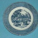 VINTAGE CURRIER AND IVES~EARLY WINTER~BLUE AND WHITE~WHEAT HARVEST~BREAD PLATE~ROYAL CHINA