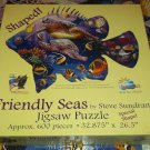 SUNSOUT JIGSAW PUZZLE~STEVE SUNDRAM~FRIENDLY SEAS~FISH & TURTLE~600 PCS~SHAPED~COMPLETE