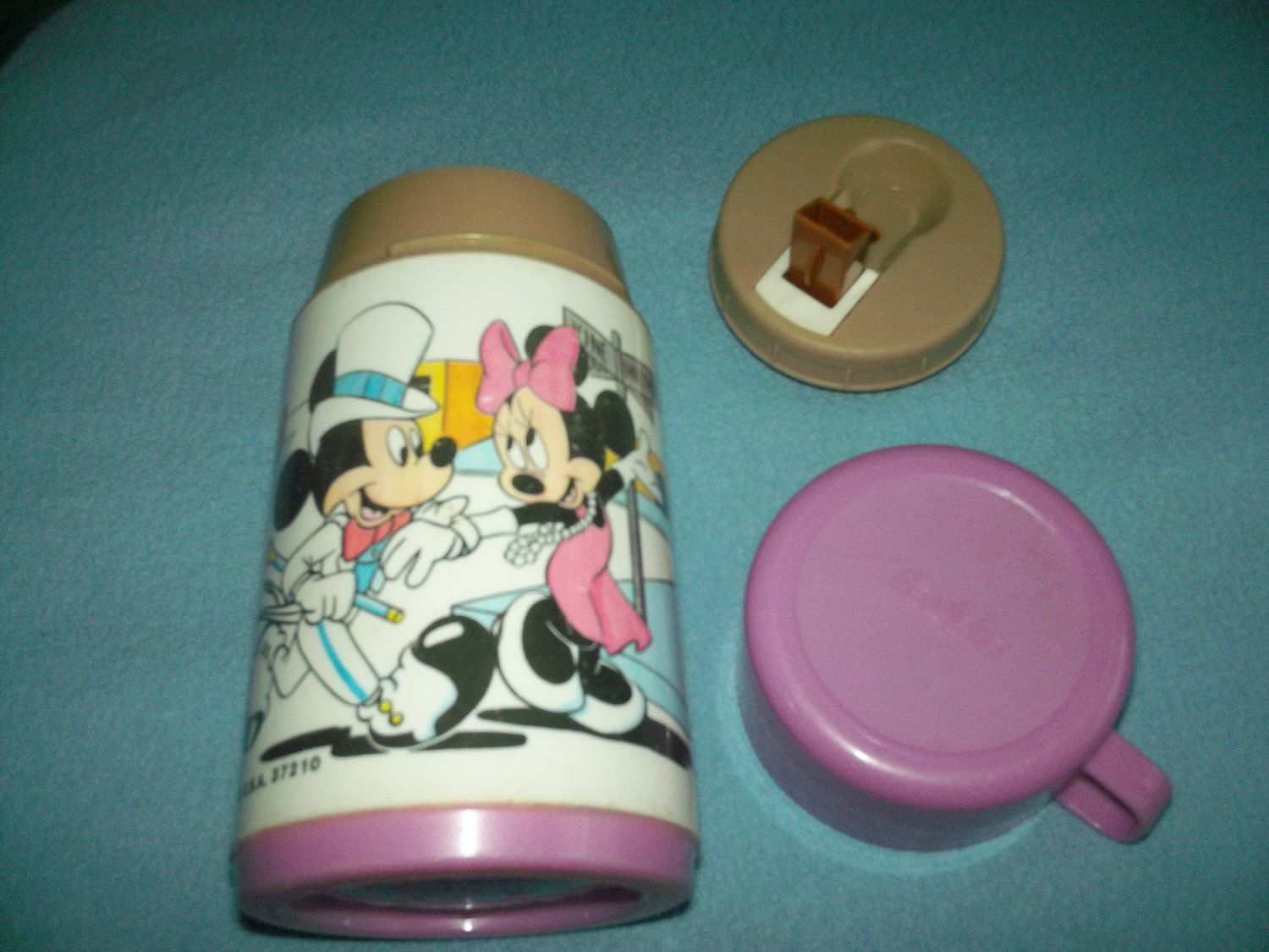 VINTAGE MICKEY AND MINNIE MOUSE THERMOS~ALADDIN~~PURPLE CAP~DISNEY