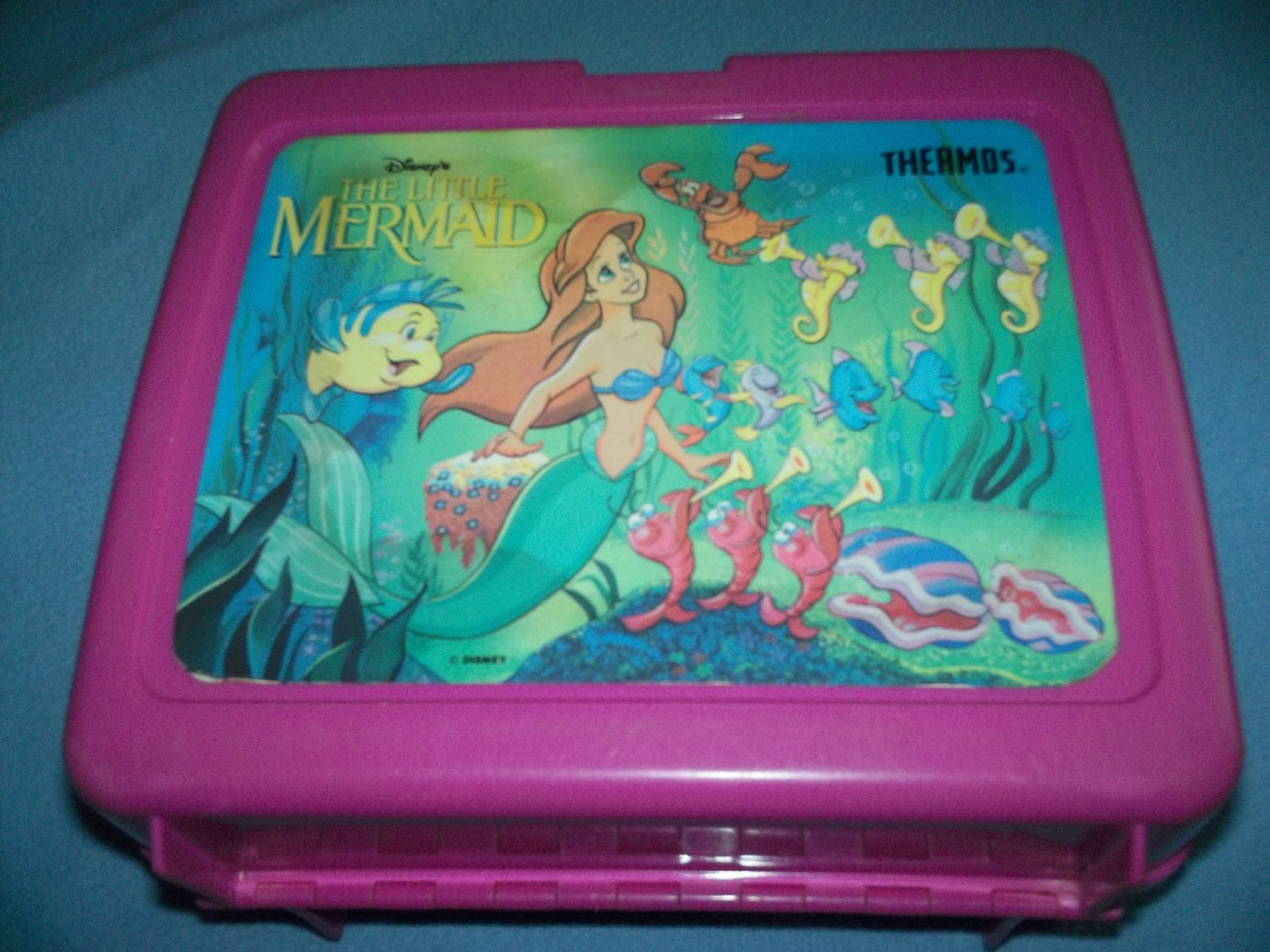 VINTAGE THE LITTLE MERMAID~LUNCH BOX~PLASTIC~NO THERMOS~DISNEY