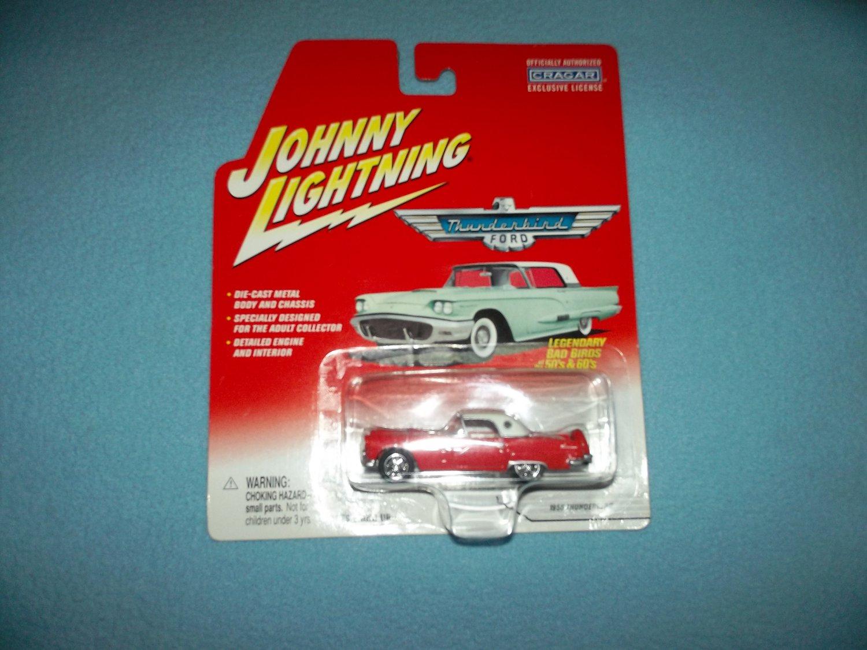 JOHNNY LIGHTNING CAR~DIE-CAST METAL CAR~1956 RED FORD THUNDERBIRD~