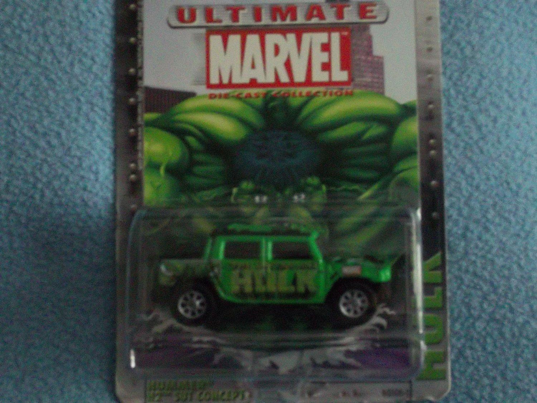 ULTIMATE MARVEL COMICS~DIE-CAST METAL CAR~MINT~ HULK GREEN HUMMER