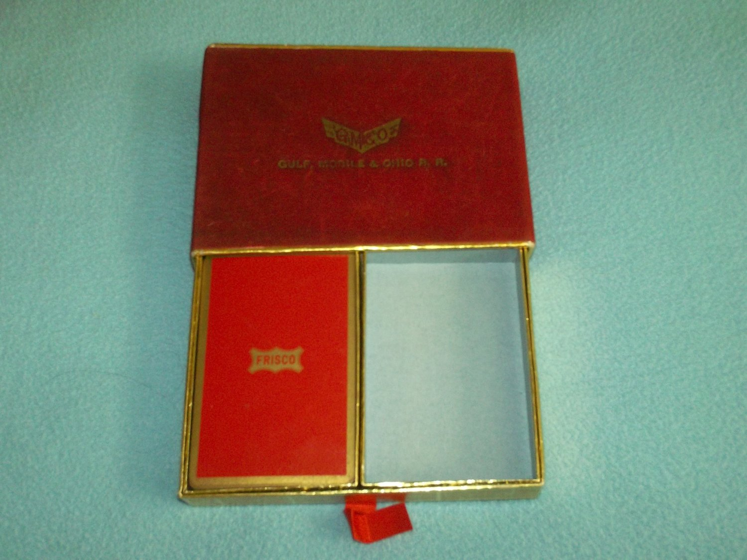 VINTAGE GULF, MOBILE AND OHIO RAILROAD PLAYING CARDS~RED BOX~RR TRAIN