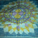 VINTAGE VERA NEUMANN SCARF ~SUNBURST DESIGN~BLUE, OLIVE GREEN, PURPLE, WHITE~HANDROLLED~JAPAN