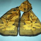 VINTAGE BILL BLASS 100% SILK SCARF ~PAISLEY-HOUNDS'S TOOTH ~BLACK/OLD GOLD