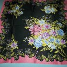 VINTAGE AK ANNE KLEIN FLORAL SCARF ~SILK~HOT PINK/BLACK/MULTI COLOR FLORAL ~GORGEOUS