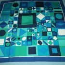 VINTAGE GEOMETRIC SCARF ~BLUES/ AQUA/ WHITE~VERY PRETTY AND STRIKING