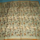 VINTAGE FLORAL SCARF ~ORANGE/BROWN/WHITE ~SQUARE~CHARMING