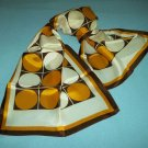 VINTAGE GEOMETRIC LADIES SCARF RUNNER~ BROWN/GOLD/WHITE ~ DOTS & SQUARES~NICE
