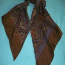 RALPH LAUREN LONG SILK GEOMETRIC SCARF WRAP SHAWL ~BROWN/BLUE-GREY/CINNAMON/CREAM~HAND ROLLED~WOW