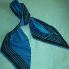 VINTAGE VERA NEUMANN FOR VERESA SCARF ~BLUE/BLACK~JAPAN~POLYESTER~LONG BIAS POINTED