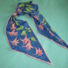 VINTAGE VERA NEUMANN SCARF ~RETRO FLOWERS~FUSCHIA~BLUE/GREEN/PINK ~LOVELY~LONG~BIAS