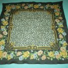 VINTAGE FLORAL AND ANIMAL PRINT SCARF ~PINK/BROWN/WHITE ~SQUARE~CHARMING