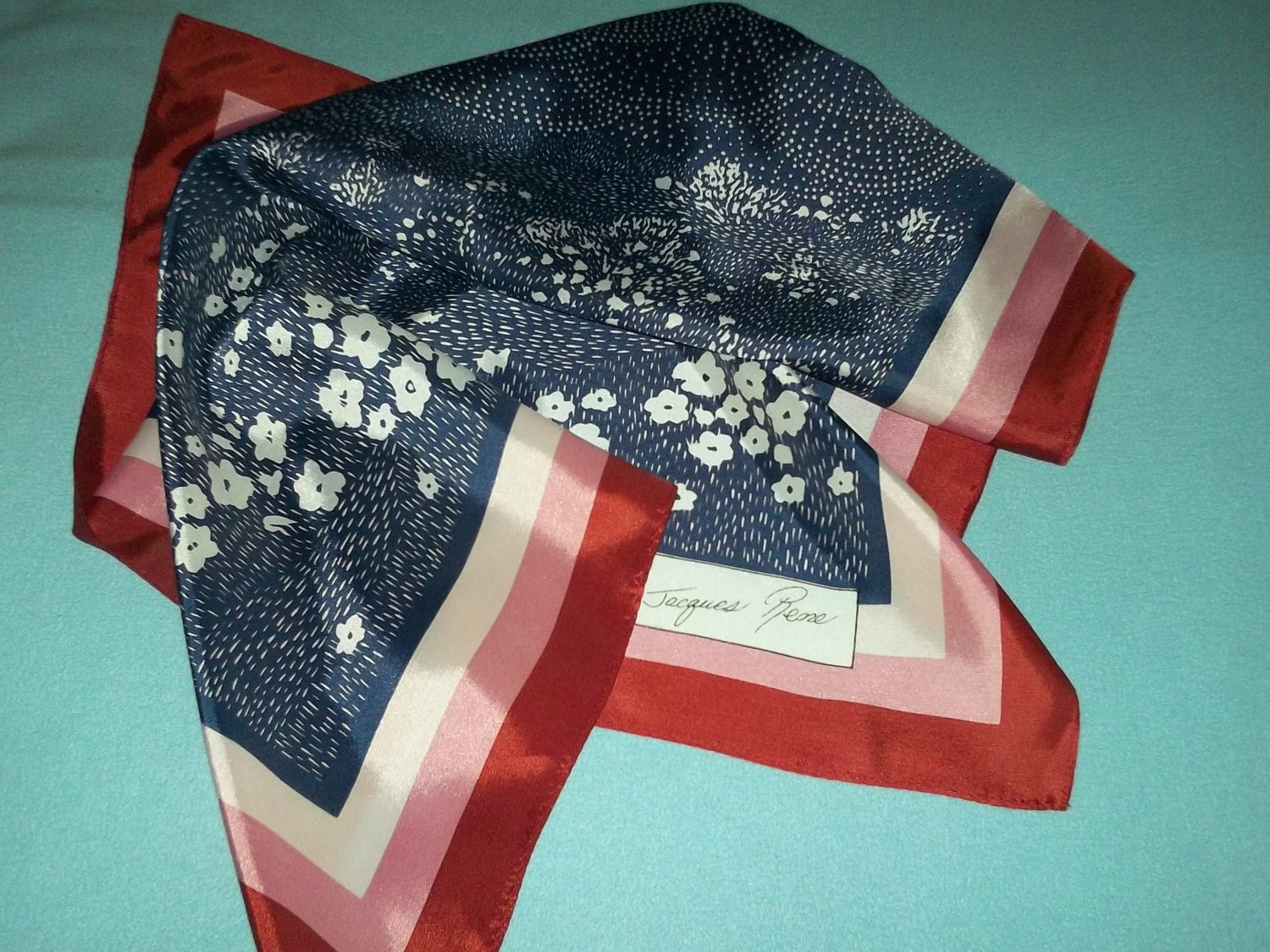 JACQUES RENE DESIGNER SCARF ~ASIAN STYLE~WHITE/BLUE/PINK~JAPAN~ARTY