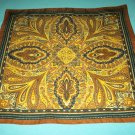 VINTAGE CLASSIC BROWN PREPPY PRINT SCARF~ITALY~BROWN, BLACK, YELLOW~SQUARE~CLASSIC