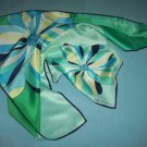 ANNE KLEIN SCARF~100% SILK~BIG DAZZLING FLOWER BLOOMS~GREEN