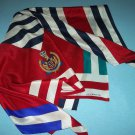 LIZ CLAIBORNE SILKY NAUTICAL INSIGNIA SCARF ~RED, BLUE, WHITE, GREEN~FLAG COLORS~CLASSIC CREST