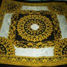 GOLD CHAINS LARGE ITALIAN SCARF~BLACK, WHITE, GOLD~100% SILK~GLAMOROUS