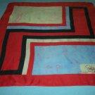 VINTAGE ELSA SCHIAPARELLI SCARF ~GEOMETRIC RED/BLACK~HAND ROLLED EDGE~100% SILK~CLASSY
