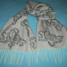 PRESTON & YORK GERMANY SCARF~SOFT AND COZY~LOVELY LIGHT PINK + GRAY~FRINGE