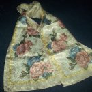 BIG PINK SHINY ROSES SCARF~BOLD FLORAL DESIGN~SILKY~LOVELY