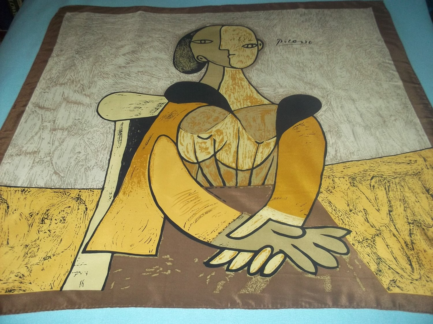 PICASSO 100% SILK SCARF ~MADE IN PARIS~WOMAN IN CHAIR~ABSTRACT ART