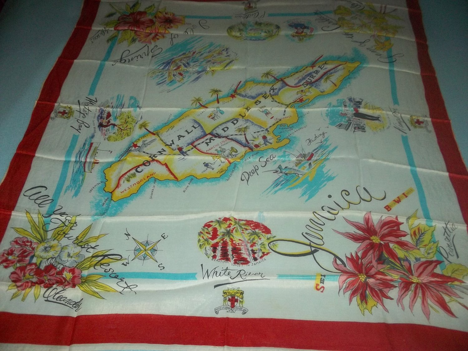VINTAGE JAMAICA SOUVENIR SCARF ~KINGSTON, MONTEGO BAY~COLORFUL MAP, FLOWERS