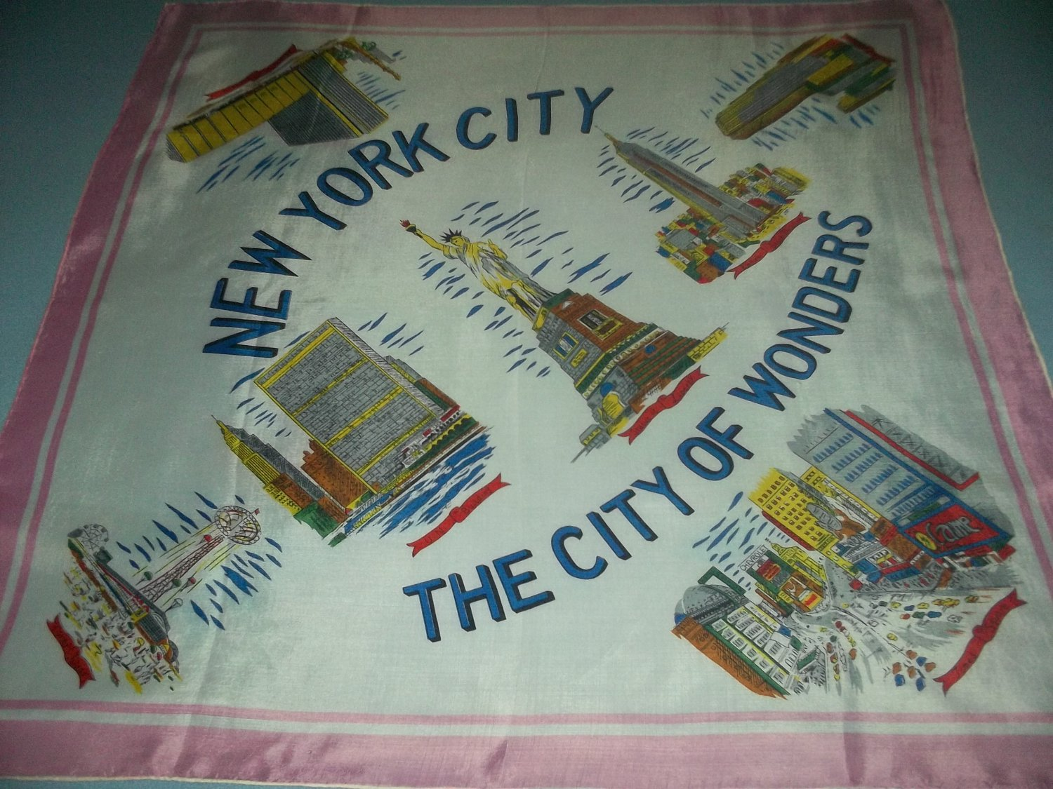 VINTAGE NEW YORK SOUVENIR SCARF~TIMES SQUARE,CONEY ISLAND~HAND-ROLLED JAPAN