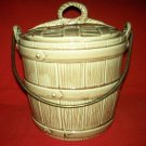 VINTAGE MCCOY COOKIE JAR ~ OACKEN BUCKET ~ WITH LID ~ USA