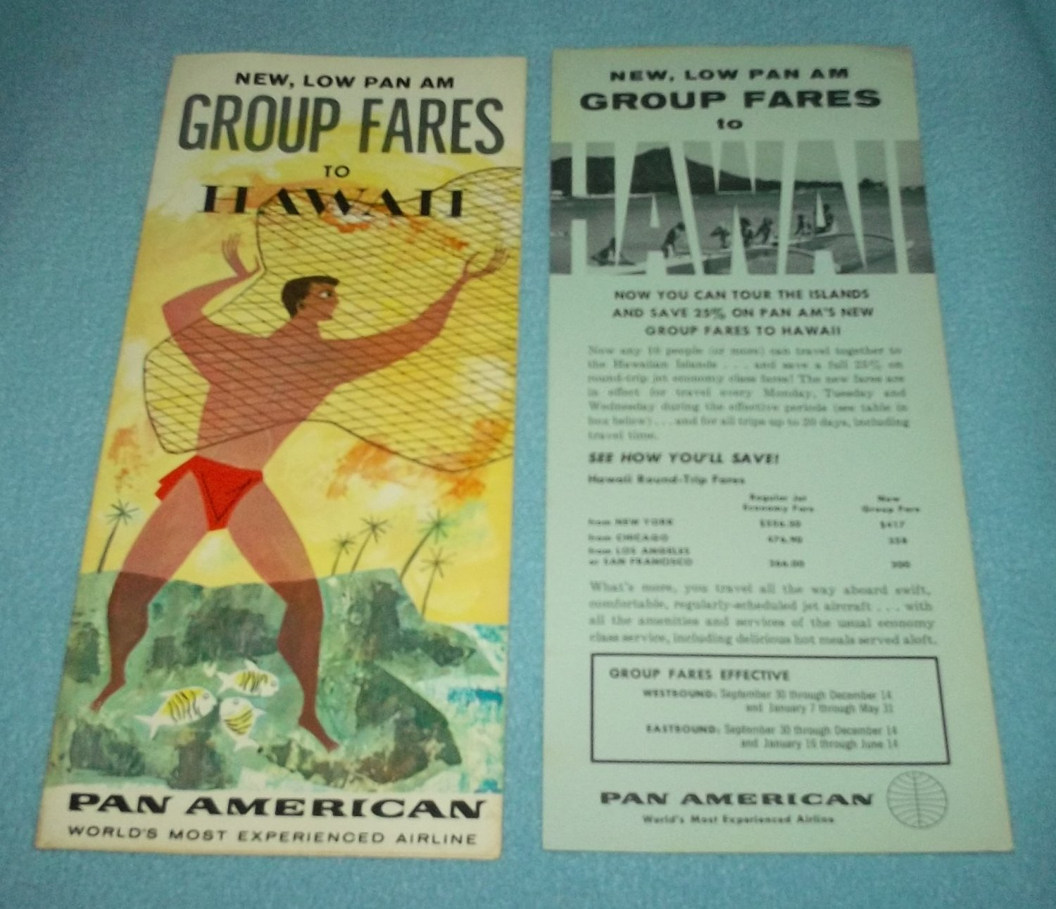 VINTAGE PAN AMERICAN HAWAII BROCHURE 1962 ISLAND MAN FISHING