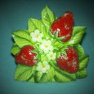 Vintage LORRIE HUFF DESIGN Joseph Originals STRAWBERRY letter napkin holder