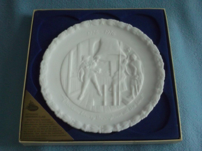 FENTON MILK GLASS Bicentennial Plate #4 of 4 PROCLAIM LIBERTY 1976 w/box