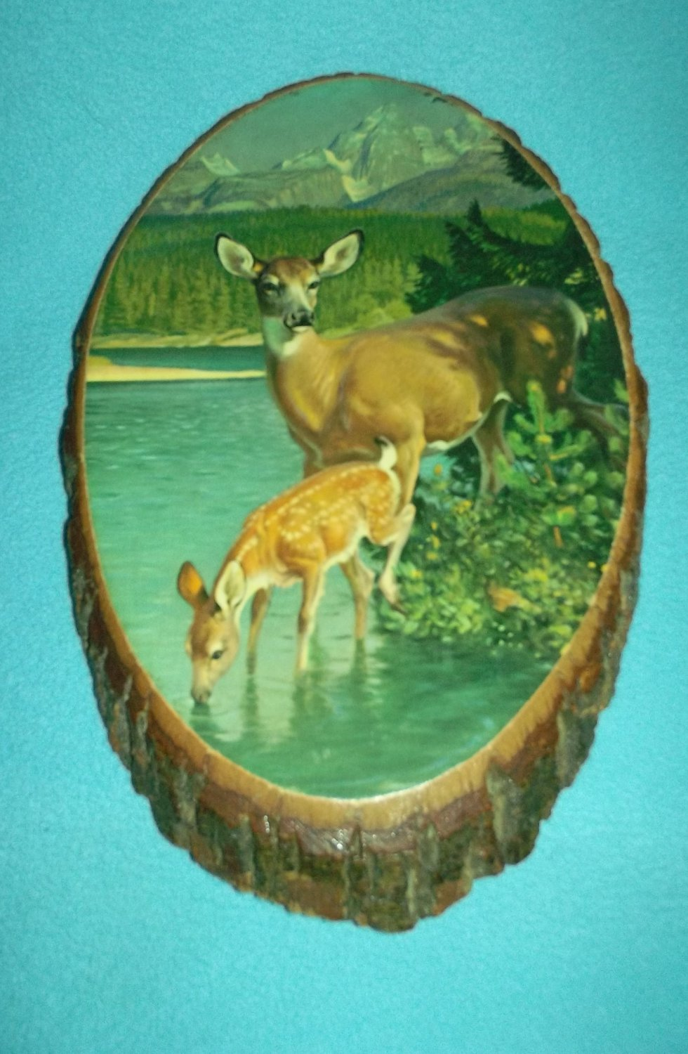 Vintage WOOD SLAB BARK Plaque WOODEN Doe and Fawn Mountains DOG PATCH TRADING POST